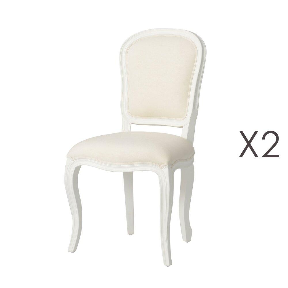 lot de 2 chaises en bois blanc et assise en tissu ecru charmy