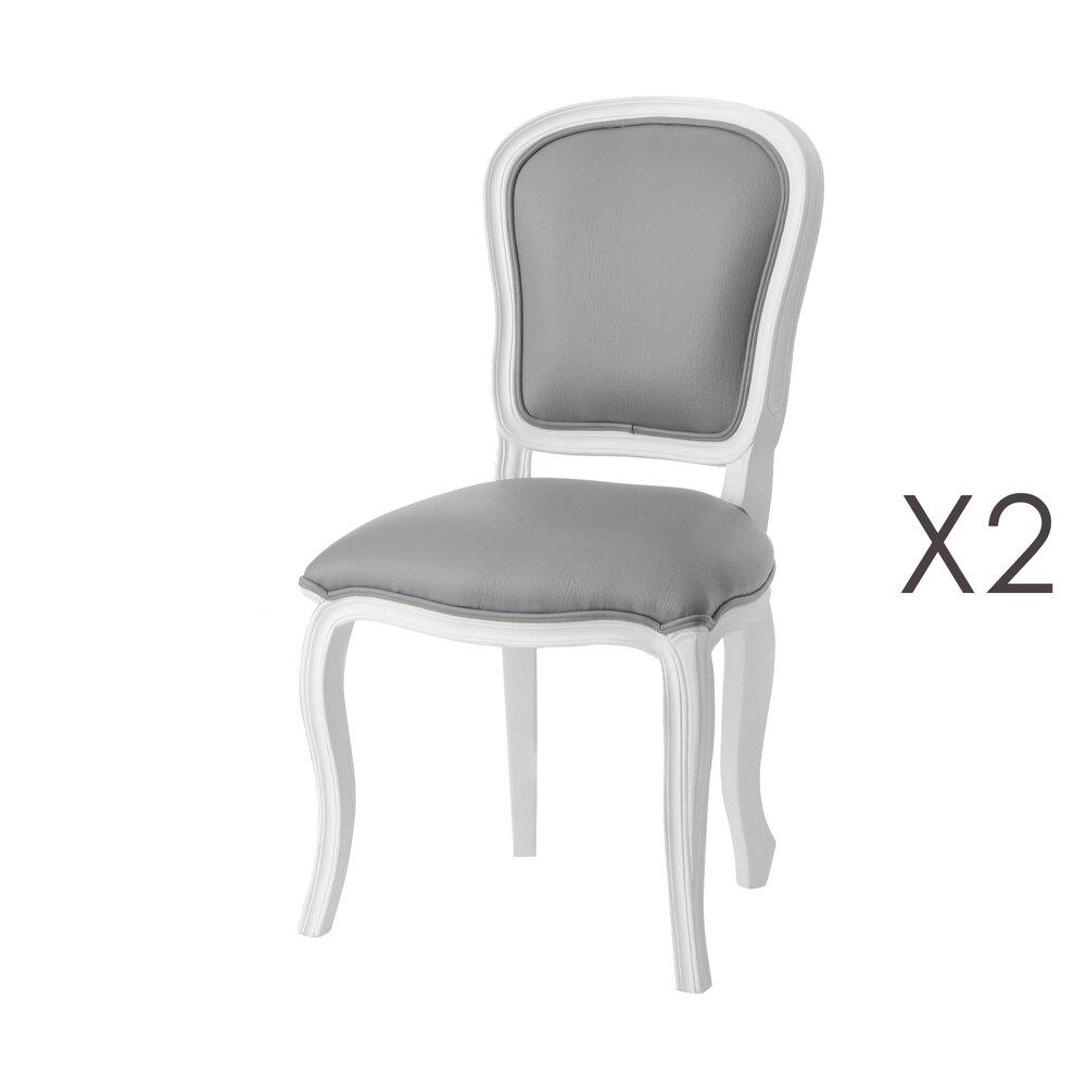 lot de 2 chaises en bois blanc et tissu gris charmy blanc