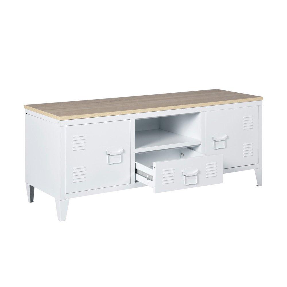meuble tv 2 portes 1 tiroir en metal blanc et plateau bois aristo