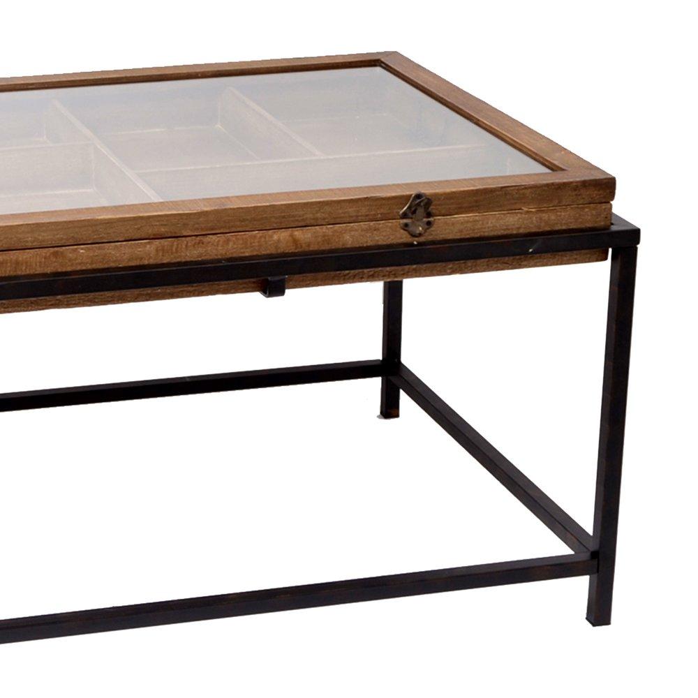 table basse vitrine 114x64x52 cm en sapin et metal lenny