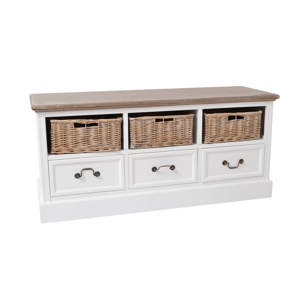meuble tv 6 tiroirs 120 cm en bois blanc et osier