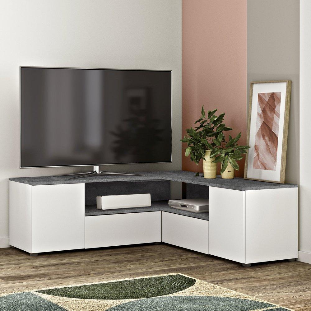 meuble tv d angle 130x130x46 cm blanc et beton squar
