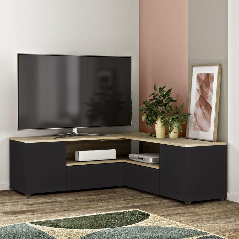 meuble tv d angle 130x130x46 cm noir et chene squar