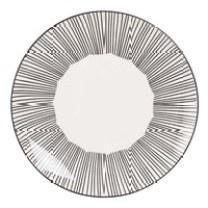 Assiette plate en faïence blanche à rayures Mekong