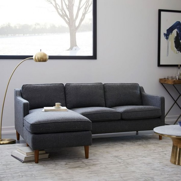 A Hamilton Upholstered Chaise Sectional From West Elm Is One Of The Best Sofas For Small