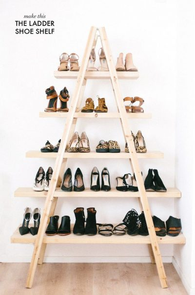 wooden diy ladder shoe shelf