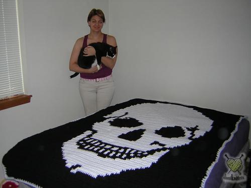Skull Afghan Lg