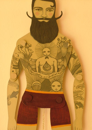 tattooed paper doll man
