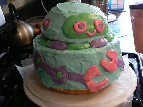 dabbled robot cake