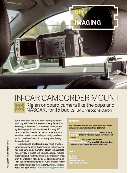 Weekend Project In Car Camcorder Mount Pdf Make