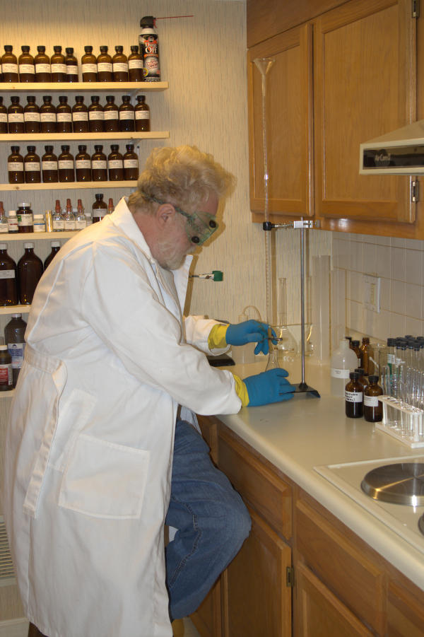 Robert Bruce Thompson in his Home Chemistry Lab