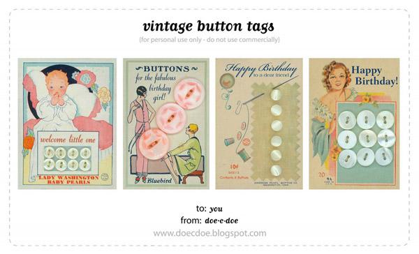 Vintage Button Tags