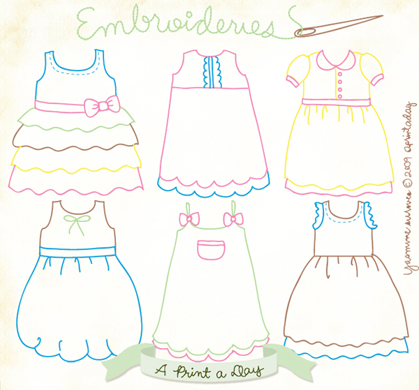 Little Dresses Embroidery Pattern Make