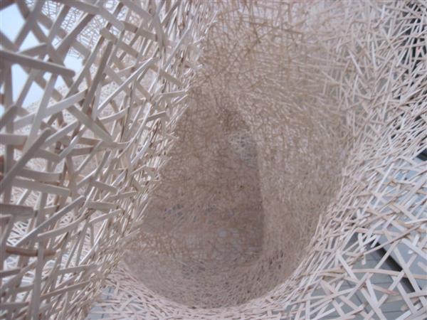 Jonathan Brilliant Coffee Stirrer Cobweb Installation Close Up.JPG