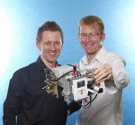 With a Lego NXT system and $500 in parts, a team of International Space University students built this fully functioning prototype satellite, shown by NASA's Chris Boshuizen (left) and Will Marshall.