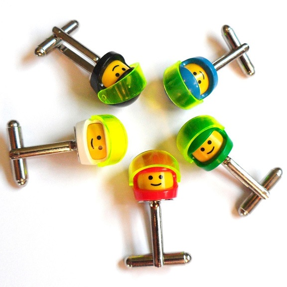 Lego Classic Space minifig head cufflinks available on Etsy.