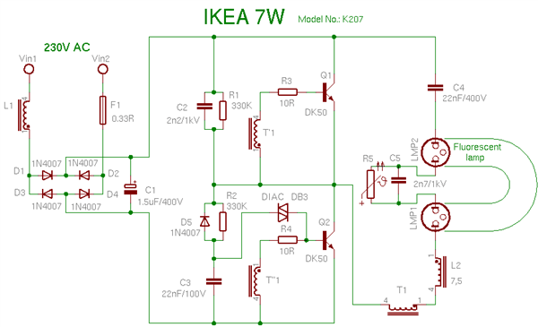 circuitry anatomy and repair tips for common cfl lamps make rh makezine com cfl circuit diagram philips cfl circuit diagram+working