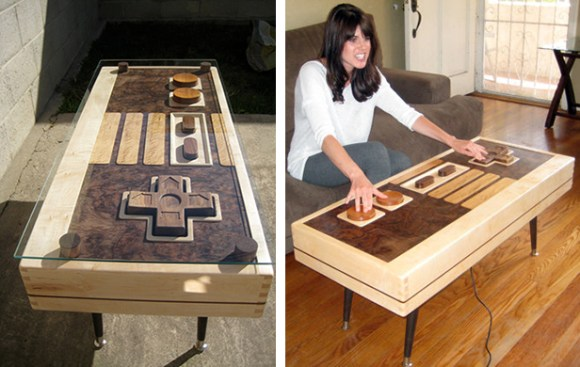 fine wood nes controller coffee table | make: