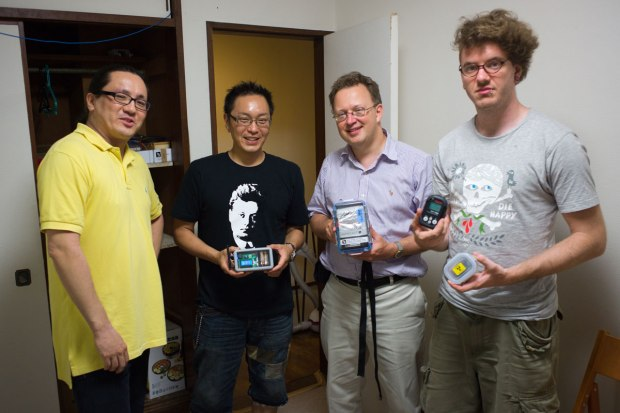 Safecasters (from left to right) Jun Nakamura, Akiba, Pieter Franken, and Robin Scheibler.