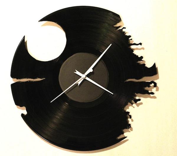 Hand Cut Lp Death Star Clock Make