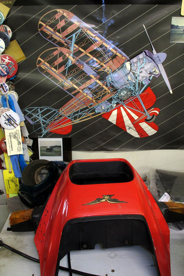 Chuck's appreciation for airplanes and motorcycles can be found everywhere in his shop.