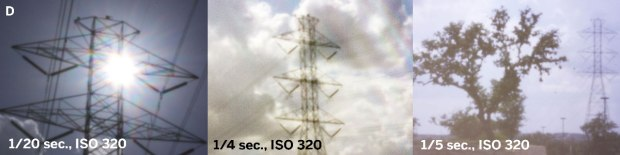 Figure D shows three dramatically different views of a high-voltage power transmission tower, all made without a tripod.