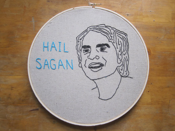 """Hail Sagan"" embroidery from Etsy user Saganomics."
