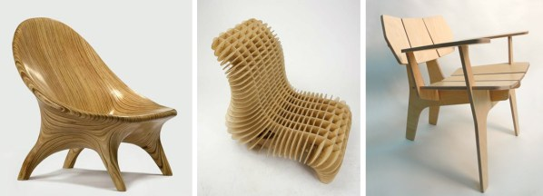 "Three approaches to designing a router-cut lounge chair. From left to right: ""stack of sections"" (), ""grid of sections"" (), and ""graphic profile"" techniques ()."