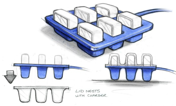 Early design for charging and stowing cubes
