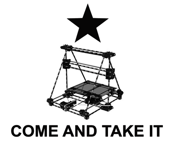 Defense Distributed's RepRap / Gadsden Flag mash-up, offered as a poster on their Indiegogo campaign to any backer pledging $1,776.