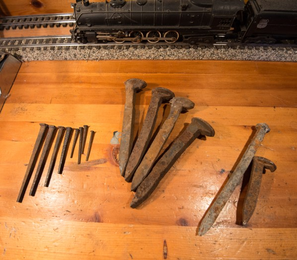 Old cut nails from a Wheeler Island duck club remodel project, Northwestern Pacific rail spikes, NWP Greenbrae tunnel timber nail and a 2' narrow gauge rail spike.