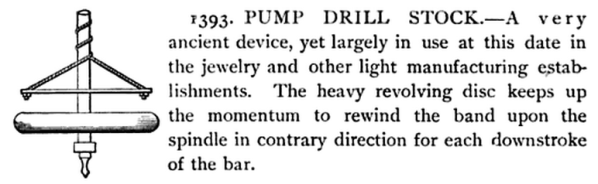 Pump drill, as illustrated on p.336 of Gardner Dexter Hiscox's 1903 Mechanical Movements, Powers and Devices.