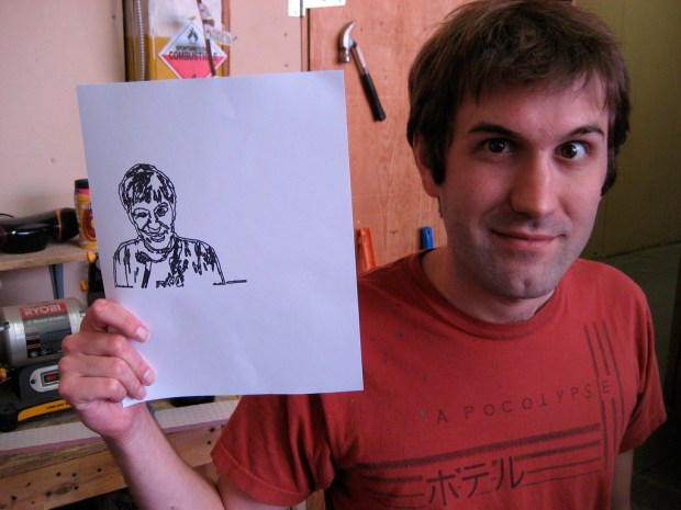 Melvin with his drawbot portrait