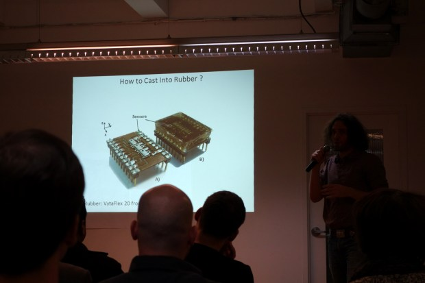 Yaroslav Tenzer from TakkTile who fabricate tactile sensors from off-the-shelf components and cast them in rubber.
