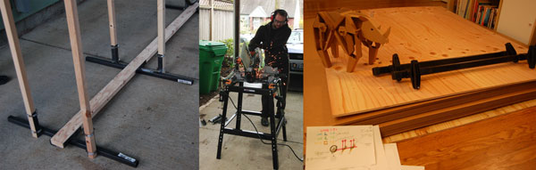 Left and Middle: Learning to weld. Right: Sourcing supplies & making sketches