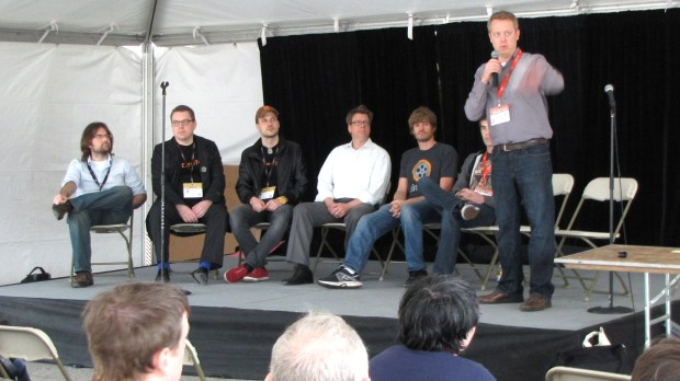 From left to right, San Francisco Hardware Startup Meetup organizer Nick Pinkston, Memoto co-founders Martin Källström and Oskar Kalmaru, Ube founder Utz Baldwin, Cinetics founder Justin Jensen, and event organizers Bartley Gillan and Ryan Brown.
