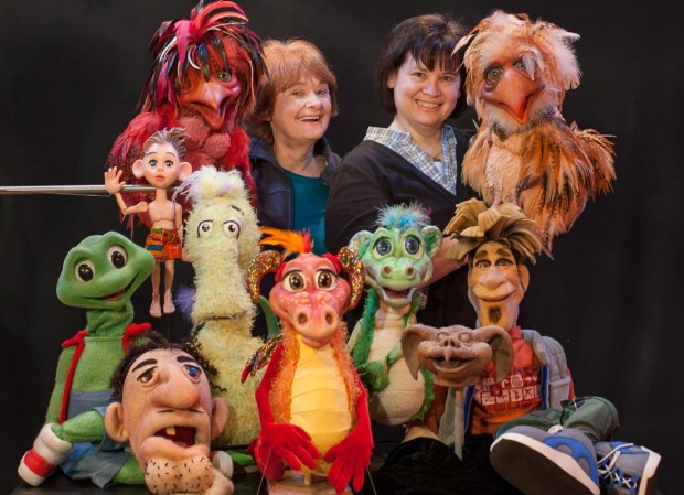Lee Armstrong and Kamela Porguges with a small selection of their puppet creations.