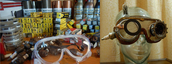 Goggle making supplies (shop glasses, vacuum tubes, spark plugs, lense filters, spraypaint) for the Tanenbaum Fabrications booth