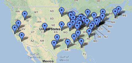 North American libraries with 3D printers, from Riel Gallant's survey