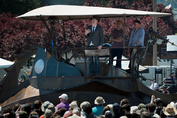 Adam Savage entered the San Mateo County Fairgrounds riding a steampunk submarine on Sunday. (Gregory Hayes/MAKE)