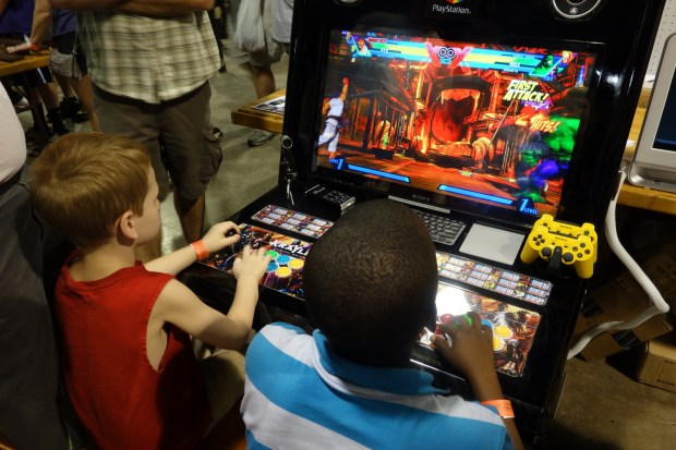 Playstation MAME cabinet got a lot of attention from a lot of kids!