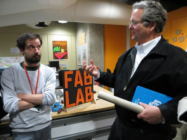 David Forgeron and Dale at the Fab Lab inside the Paris science center (photo: Camille Bosqué)