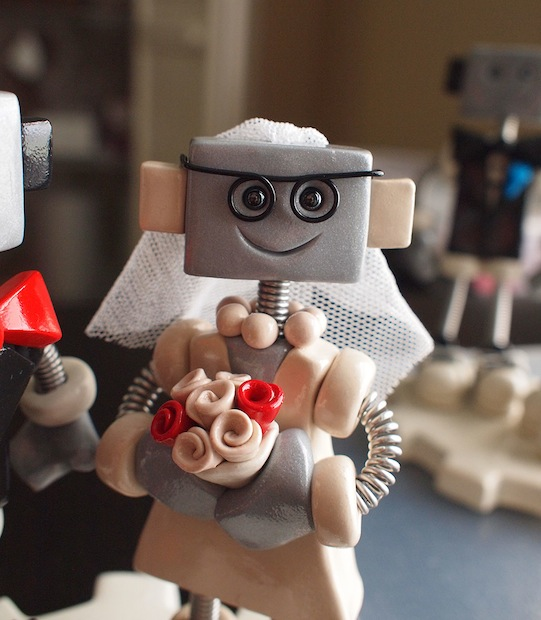 Custom Robot Wedding Cake Topper: Red and Black Geekery