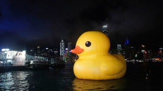 "Rubber duck in Hong Kong harbor. [courtesy Toys ""R"" Us (Asia)]"