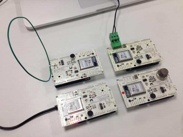 Four of the 500 sensor motes deployed at Google I/O