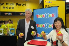 """Pieter Schats (Toys """"R"""" Us Asia Managing Director) and I at the Bye-Bye Duck Party [courtesy Toys """"R"""" Us  Asia]"""