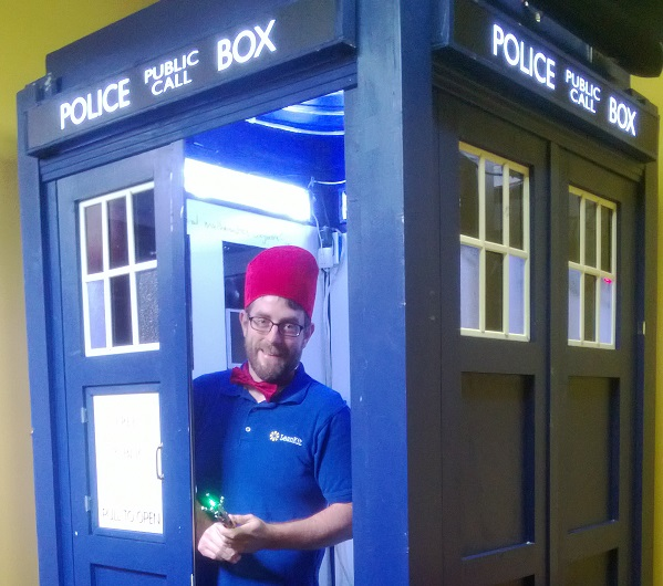 LeanKit TARDIS is a Timey Wimey Thing   Make  LeanKit CEO  Chris Hefley proudly shows off the employee made TARDIS