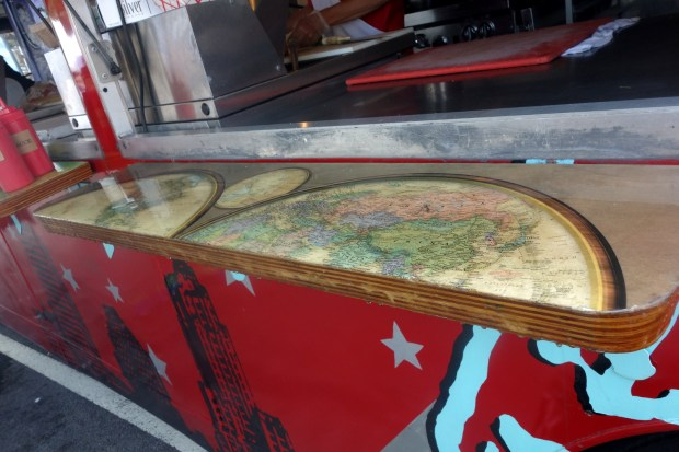 Even the food trucks were maker-inspired with unique map-covered serving shelves.