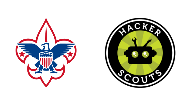 The Boys Scouts of America and Hacker Scouts logos.