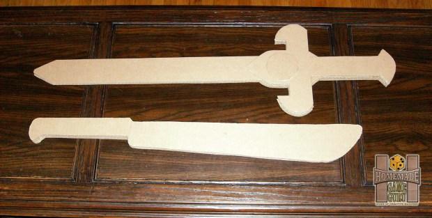 Raw Cardboard Knight Sword and Hatchet Blade